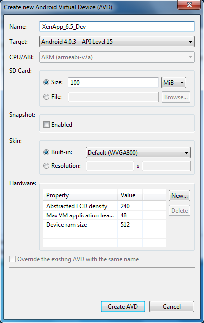 Android Virtual Device for XenApp 6.5 Mobile Appliction SDK